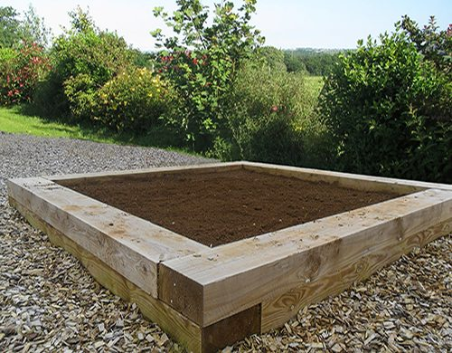 Raised bed made from Charltons LongLast Softwood Sleepers