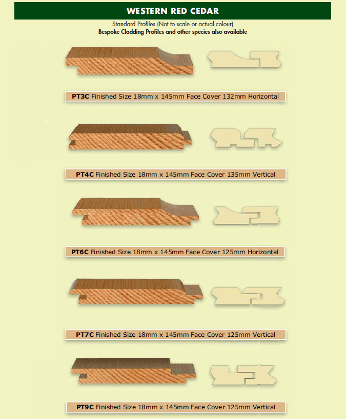 Western Red Cedar Cladding Profiles